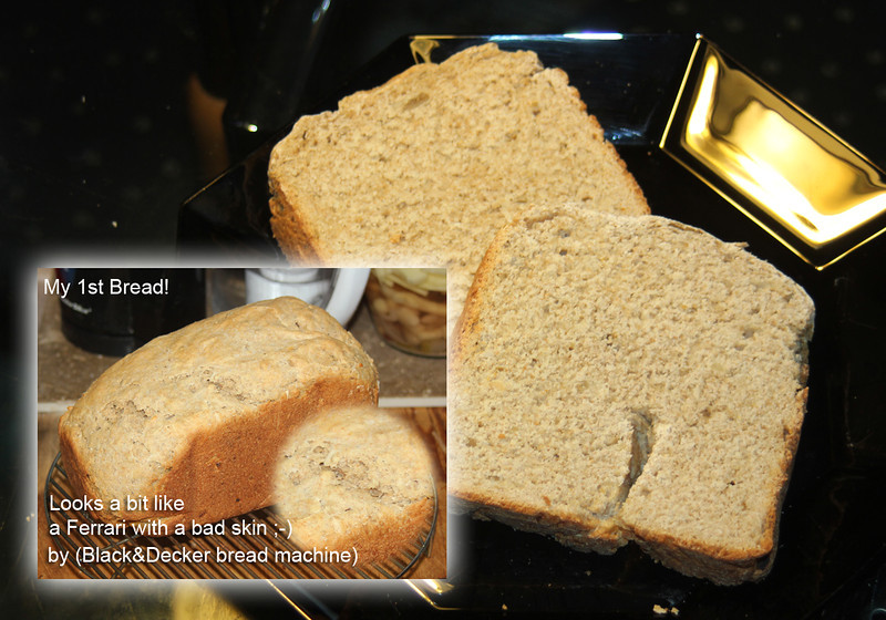 RECIPE 1<br /> <br /> Program setting: 1 (white)<br /> WHITE BREAD 3-bl loaf<br /> 2cups of water (80-90degree F)<br /> 4 T spoon of butter in pieces<br /> 2 1/2 t spoon of salt<br /> 4 T spoon<br /> 5 1/2 cups of Bread flower <br /> (changed to 3 cups white bread flower and 2 1/2 cups of whole grain barley flower)<br /> 1 1/4 t spoon bread machine yeast<br /> <br /> + ADDED for taste<br /> 2 T spoon of dry onion flakes<br /> 1 T spoon of Parmesan & herbs<br /> 1 T spoon sunflower kernels