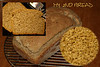 RECIPE 3<br /> <br /> Program setting: 2 (Whole Wheat)<br /> MULTISEED BREAD 3-bl loaf<br /> 1cups of water (80-90degree F) 29C<br /> 3/4 cup of milk (80-90degree F) 29C<br /> 3 T spoon of butter in pieces<br /> 3 T spoon of honey<br /> 2 t spoon of salt<br /> 4 cups of Bread flower <br /> 3/4 cups of whole wheat flower<br /> (changed to 3/4 cups of whole grain barley flower)<br /> 1/4 cup of Hazelnut flour<br /> (changed to 1/4 cups of whole grain barley flower)<br /> 2 t spoon bread machine yeast<br /> <br /> 1/2 cup sunflower seeds<br /> 3 T spoons of golden flax seeds<br /> 2 T spoons of white sesame seeds<br /> 2 T spoons of Black sesame seeds<br /> (changed to 4t spoons of white sesame seeds)<br /> <br /> 1 T spoon of poppy seeds<br /> <br /> Kneaded in machine than taken out at 50 min before end of 3.48min program 2<br /> and baked in oven at 375F for 45min <br /> in Teflon lined drops of oil covered with thin layer of flower<br /> <br /> came out with NO problem