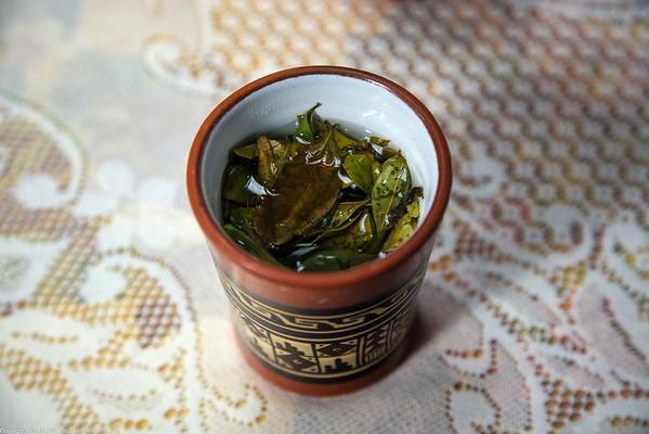 Coca Leaf Tea in a Restaurant in Pisaq