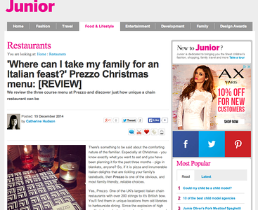 Prezzo, Christmas menu, London, UK