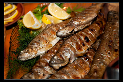 """Grilled Rainbow Trout"" served in ""12 Chimneys"" restaurant in Kyrgyzstan"