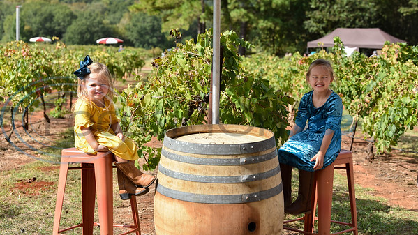Kate Cline, 2, (left) and Gracie Cline, 5, (right) smile for a photo while attending the Kiepersol Winery annual Vine Day event on Saturday, October 19. The event is meant to give thanks for a bountiful harvest and pray for rest over the vineyard as it prepares for the next season. (Jessica T. Payne/Tyler Morning Telegraph)