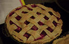 Pie from scratch, strawberry rhubarb pie with lattice crust