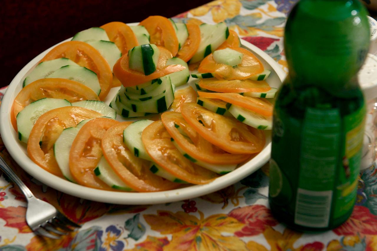 Tomatoes (low acid) and cucumbers! A seasonal favorite