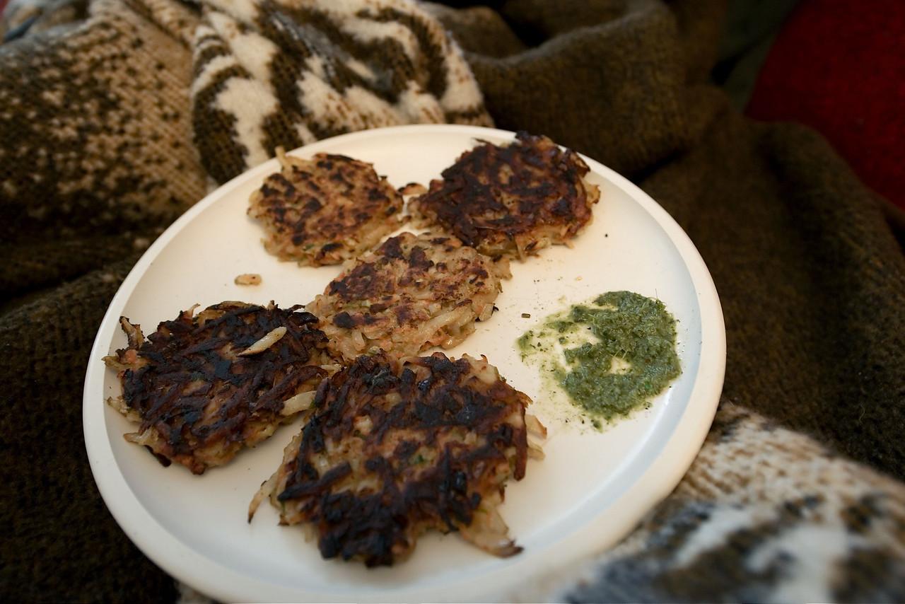 Potato pancakes with Coriander Chutney - YUM!!!!