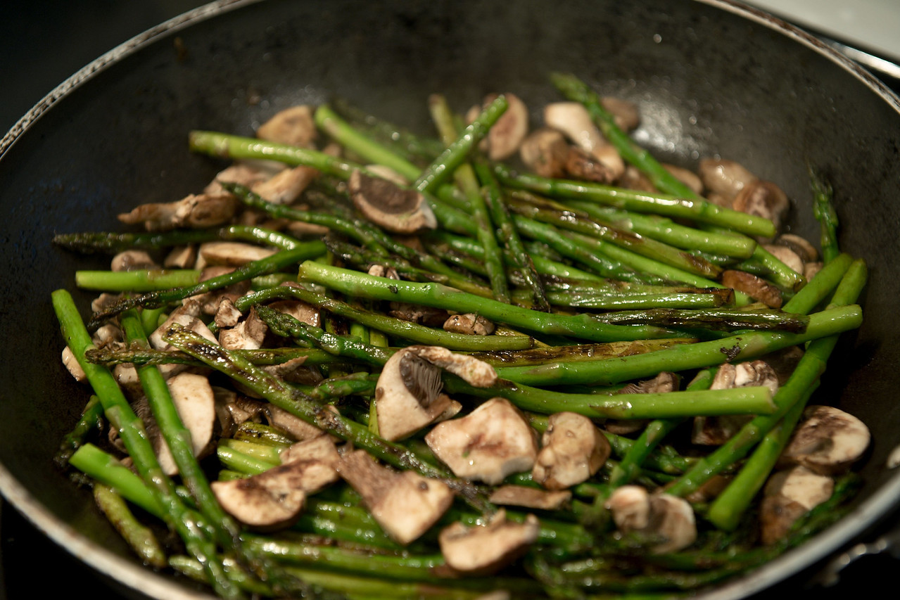 Stir fried asparagus and mushrooms in the works