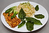 Dinner plate:<br /> mashed potatoes with melted leeks<br /> bok choy stir fried with garlic, ginger and soy sause<br /> tempeh marinated and fried<br /> deep fried basil leaves
