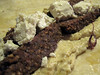 Lamb kofte on flatbread with feta and houmous and smoked aubergine dip