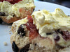 Scone with butter, jam and Rodda's clotted cream