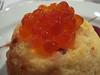 Organic salmon soufflé with beetroot and hazelnut vinaigrette & salmon caviar