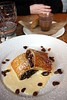 Apple, pear, and mincemeat strudel, with brandy custard and chocolate pot, with caramel and shortcake