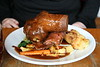 Roast sirloin of Oxforshire beef, roast potatoes, Yorkshire pudding, buttered greens, and red wine gravy