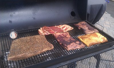 Pastrami and bacon on the smoker