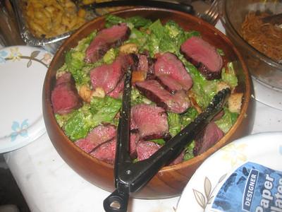 bacon marinated sirloin Cesar salad.