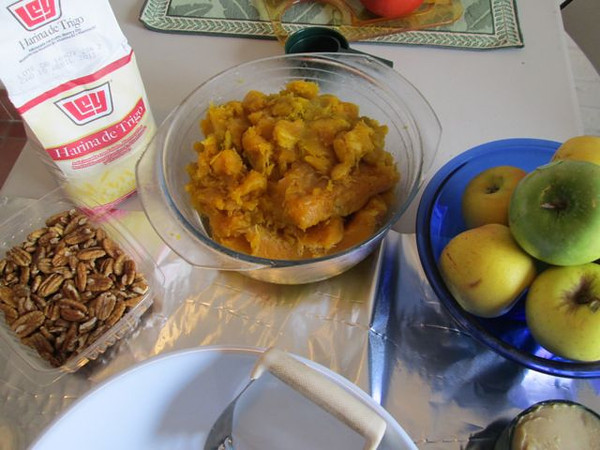 Close-up of the pecans, and the baked pumpkin, ready to puree.  Which should I make, besides pumpkin pie, pecan or apple???