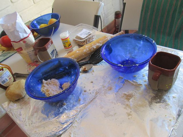 The aftermath.  Finally the pies are in the oven...now to clean up!