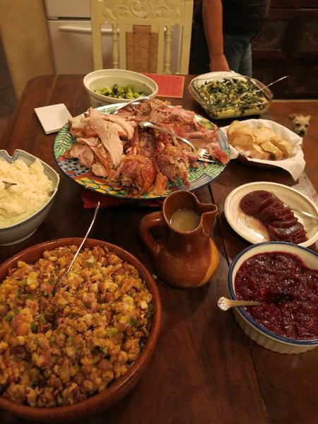 And here it is: Thanksgiving Dinner in the Tropics.  Everything we love: succulent turkey, dressing, mashed potatoes, sweet potatoes, 2 kinds of cranberry sauce, and a few green veggies to salve our conscience.