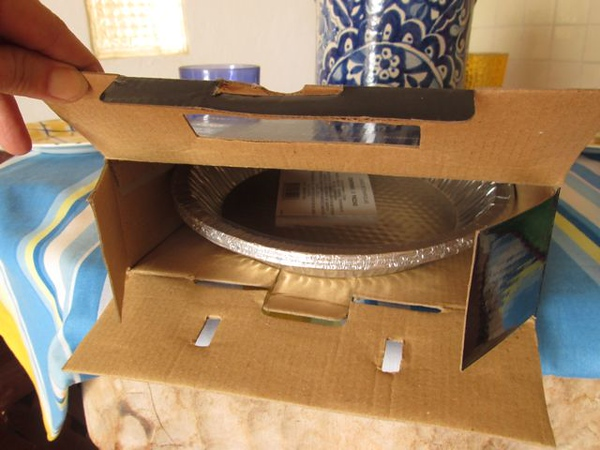 One pie could go into this box originally designed for a DVD player.