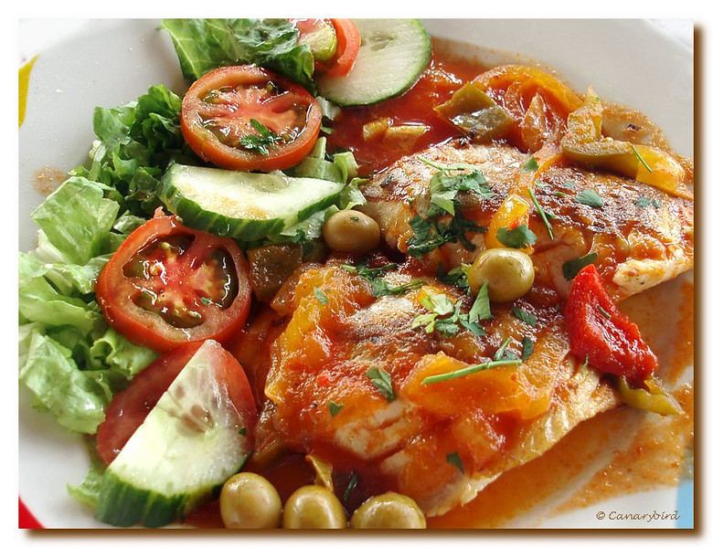 Cherne with salad
