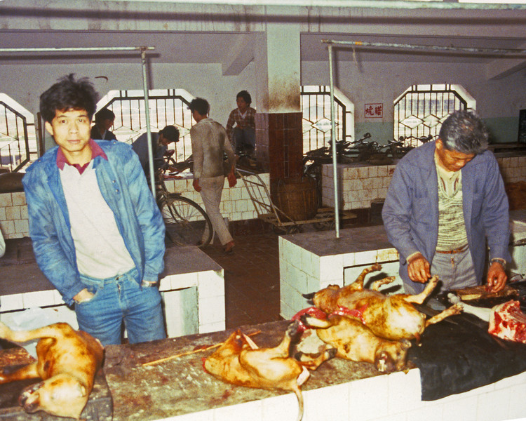 This was a meat market in Guazou China in 1982 just after they opened it to westerners.