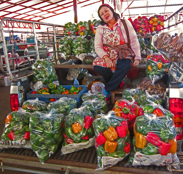 The food market provides fresh produce on a daily basis. This lady brought a truck full of peppers to sell.