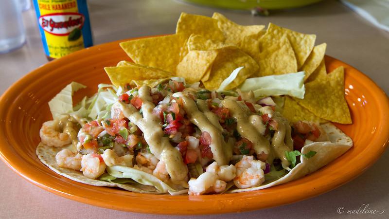 I loved this dish. Camarones: <br /> sautéed wild shrimp, salsa mexicana, shredded cabbage, curry aioli