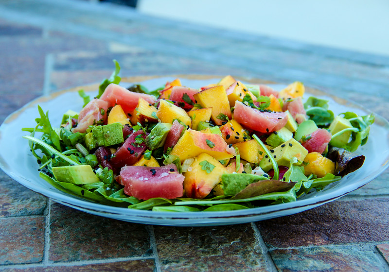 Summeripe Nectarine and Ahi Tuna with Salad Greens
