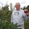 Owner Keith Bohne of Drew Farm in Westford, which is having a great year for apple harvest. These are Macoun apples, his favorite. (SUN/Julia Malakie)