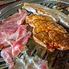 Frozen thin pork sliced meat.