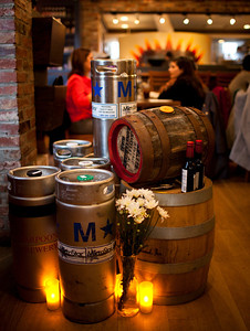 Specialty barleywine kegs at Pizzeria Paradiso on display at the Dupont Circle location on February 4th, 2012.
