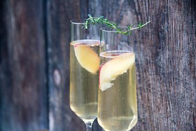 Summeripe White Nectarine, Ginger, & Thyme Champagne Cocktail