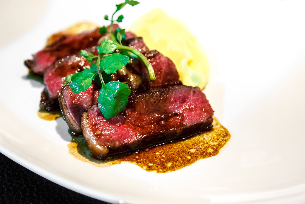 RUMPCAP grain fed wagyu MBS 9+, buttered désirée puree, marrow and shallot sauce
