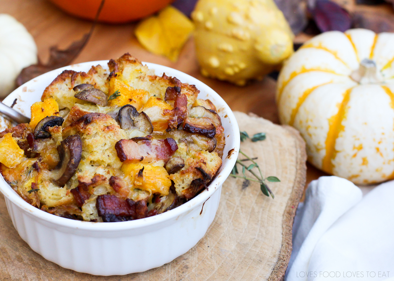 Savory Pumpkin Bread Pudding #virtualpumpkinparty | Loves Food, Loves to Eat