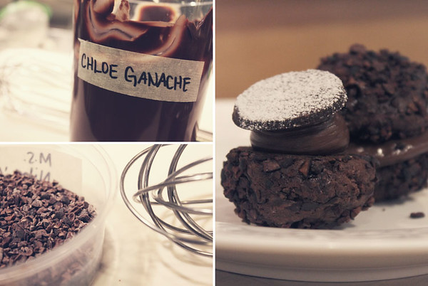 "Chloe's Pasilla Spiced ""Mudslide"" Cookie Sandwich w/ Pasilla Chili-Infused Ganache and Cacao Nibs. @ Tout Sweet Patisserie."