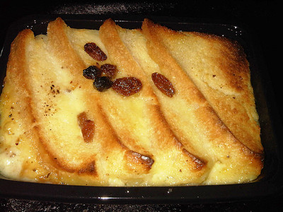"Bread & Butter Pudding by ""Marks & Spencers"" - layers of buttery bread drenched with fresh cream vanilla custard, saltanas and a hint of nutmeg  20/03/12"