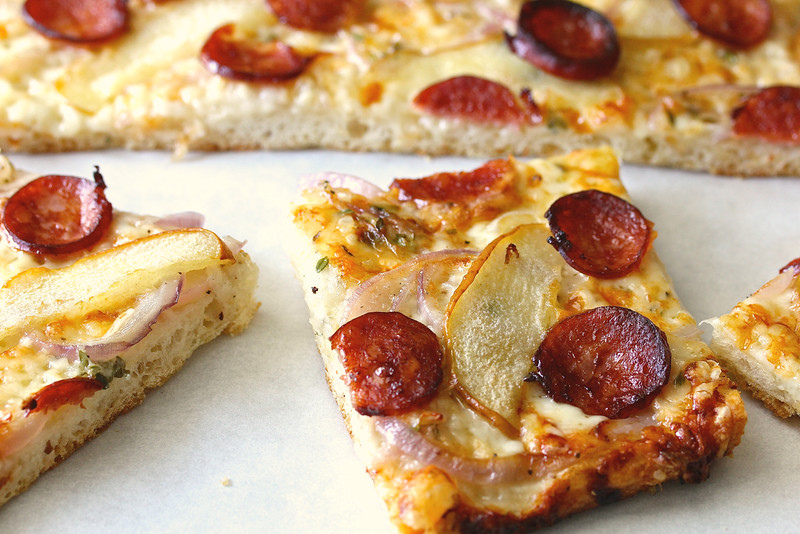 This Asian Pear and Smoked Sausage Flatbread Pizza is both sweet and savory. The no knead dough is so easy to make as well.
