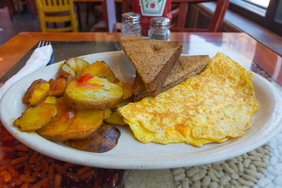 Cheese & Ham Omelette with Spanish Potatoes & Wheat Toast