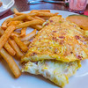 Ham & Cheese Omelette with Fries and A slice of Melon