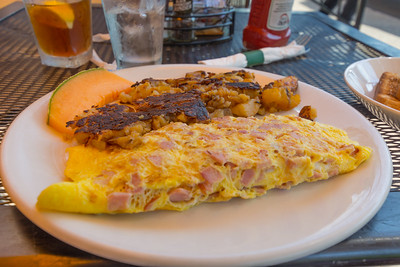 Ham & Cheese Omelette with Potatoes and a Melon