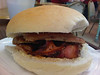 Sausage & Bacon Bap. Served in Matford Livestock Centre in Exeter  23/11/13