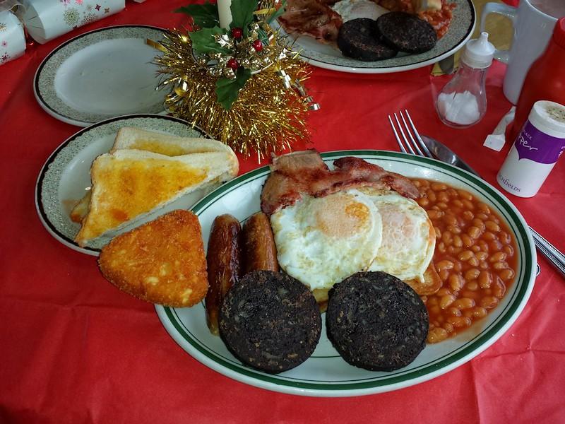 "Breakfast, served in the ""Signalbox Cafe"" in Totnes<br /> <br /> 24/12/14"