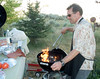 Chef Richard preps his Weber using organic hardwood briquettes -- boy, do they put out heat!