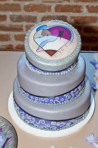 3 layer Topsy-Turvy cake. Edible printed topper, from an original painting by Brian Billings.