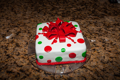 "8"" Square Double Layer filled Fondant Gift Cake."