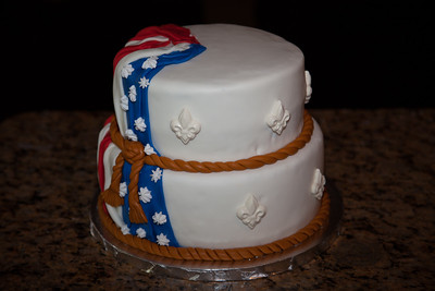 Eagle Scout Celebration Cake. Choclate cake topped with USA flag of edible fondant, and super white choclate ornaments.