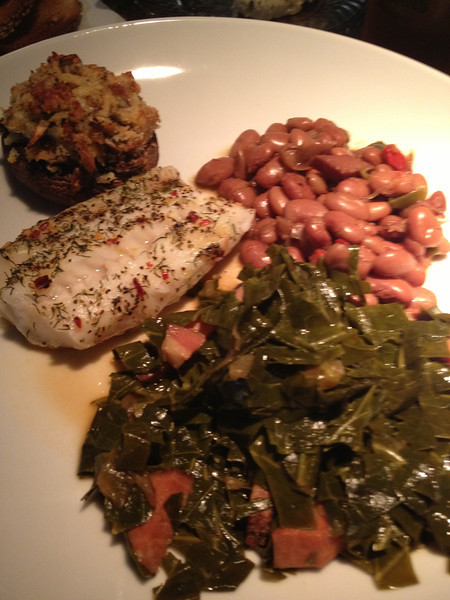 COD WITH STUFFED SHROOMS, BEANS & GREENS