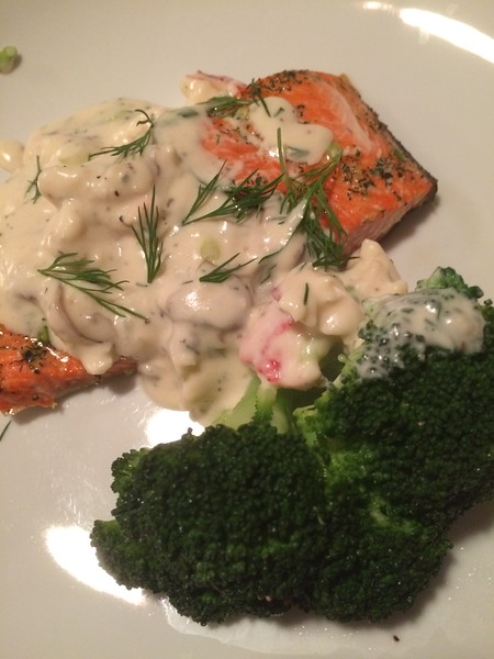 SAMLMON WITH CRAB & GRUYERE CREAM SAUCE