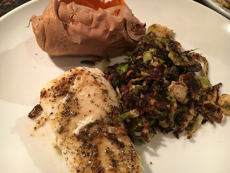 COD, FRIED BRUSSELL SPROUTS AND SWEET POTATO