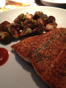 SALMON & BAKED BRUSSELL SPROUTS
