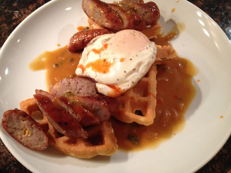 CHICKEN SAUSAGE & WAFFLES WITH POBLANO GRAVY